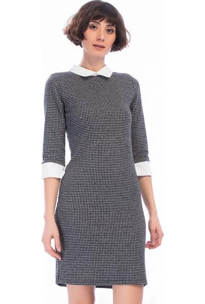 Miss Lusi 8450275 Balıksırtı Gömlek Yaka Manşet Detaylı Elbise
