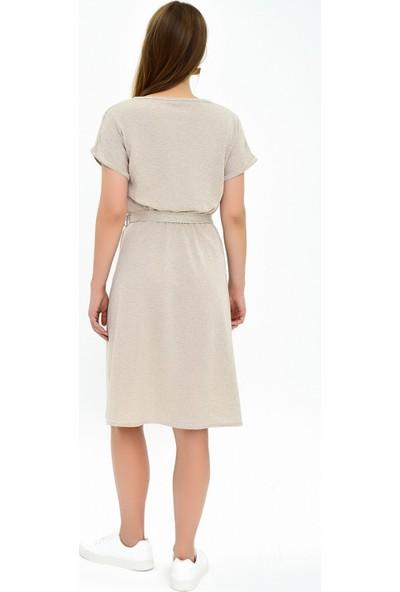 Miss Lusi 9292931 İkiiplik Beli Lastikli Yarasa Kol Elbise BEJ