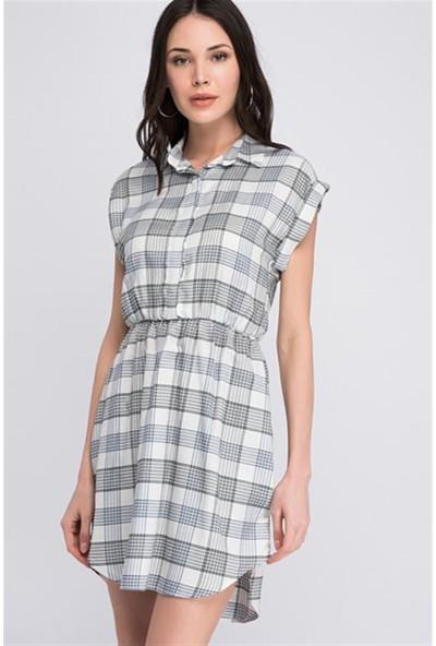 Miss Lusi 8117110 Ekose Desenli Gömlek Yaka Beli Lastikli Elbise L