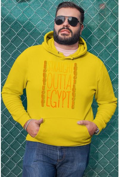 Angemiel Wear Straight Outta Egypt Sarı Erkek Kapüşonlu Sweatshirt
