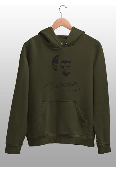Angemiel Wear Kemal Atatürk İmza Yeşil Erkek Kapüşonlu Sweatshirt