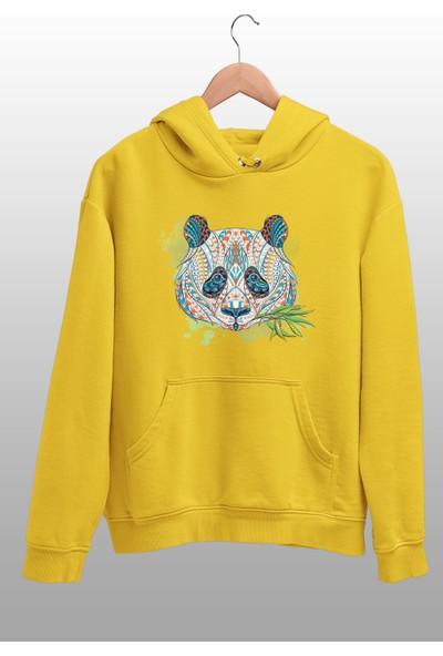 Angemiel Wear Motifli Ot Yiyen Panda Sarı Erkek Kapüşonlu Sweatshirt