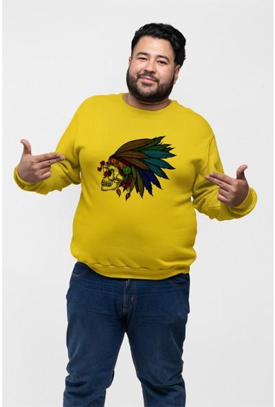Angemiel Wear Tüy Kızıldereli Kurukafa Sarı Erkek Sweatshirt