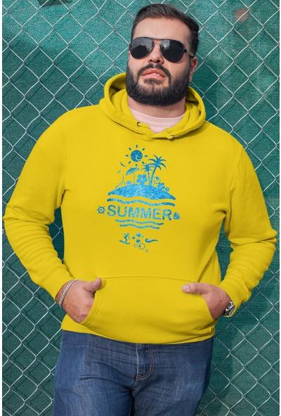 Angemiel Wear Summer Sarı Erkek Kapüşonlu Sweatshirt