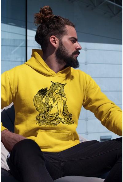 Angemiel Wear Tilki Kadın Sarı Erkek Kapüşonlu Sweatshirt