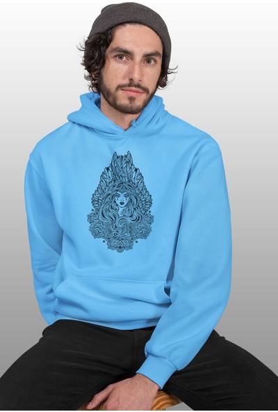 Angemiel Wear Yapraktan Kraliçe Mavi Erkek Kapüşonlu Sweatshirt