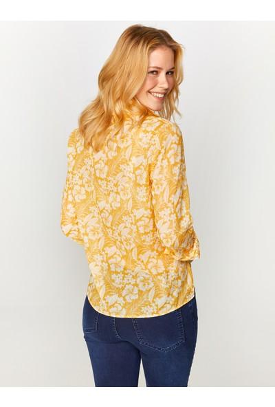 Faik Sönmez Çiçek Desenli Monochrom Vual Gömlek 60082