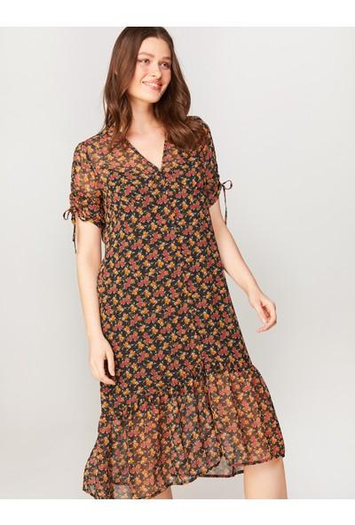 Faik Sönmez Çiçek Desenli Şifon Elbise 60270