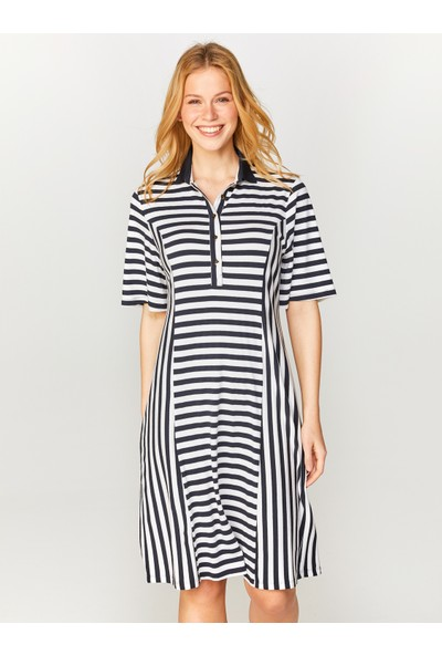 Faik Sönmez Polo Yaka Çizgili Örme Elbise 60275