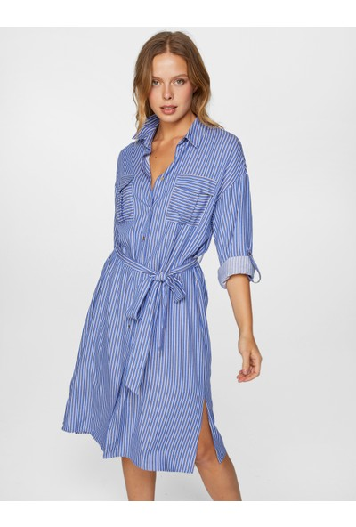 Faik Sönmez Çizgili Gömlek Elbise 60283