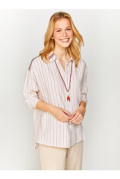Faik Sönmez Çizgili Şerit Detaylı Gömlek 60377
