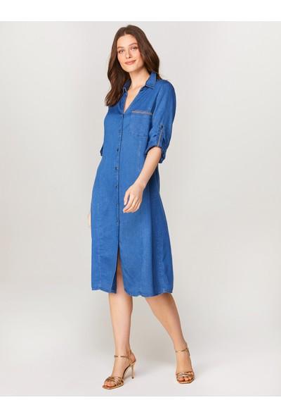 Faik Sönmez Zincir Detaylı Jean Elbise 60456