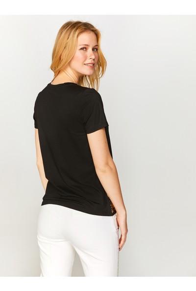 Faik Sönmez Baskılı ve Taş İşlemeli T-Shirt 60623