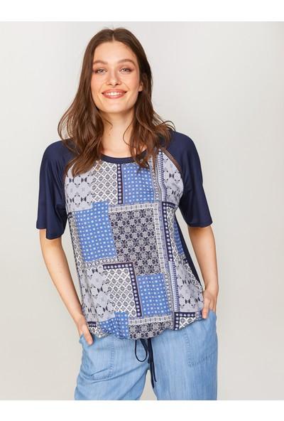 Faik Sönmez Önü Patchwork Desenli T-Shirt 60631