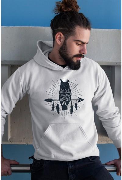 Angemiel Wear Black Wıngs Baykuş Erkek Kapüşonlu Sweatshirt