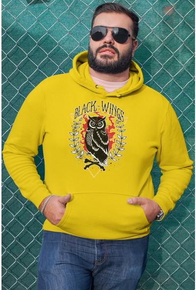 Angemiel Wear Black Wıngs Renkli Baykuş Erkek Kapüşonlu Sweatshirt