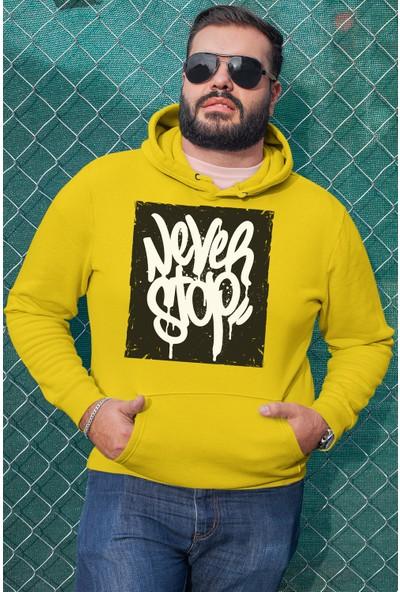 Angemiel Wear Never Stop Erkek Kapüşonlu Sweatshirt