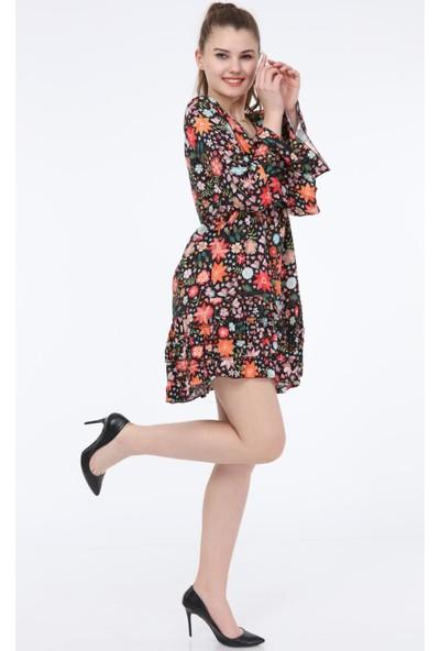Pua Fashion Siyah Çiçek Desenli V Yaka Elbise STD