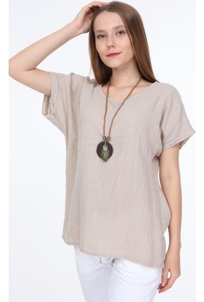 Pua Fashion Bej Kolyeli Bluz STD
