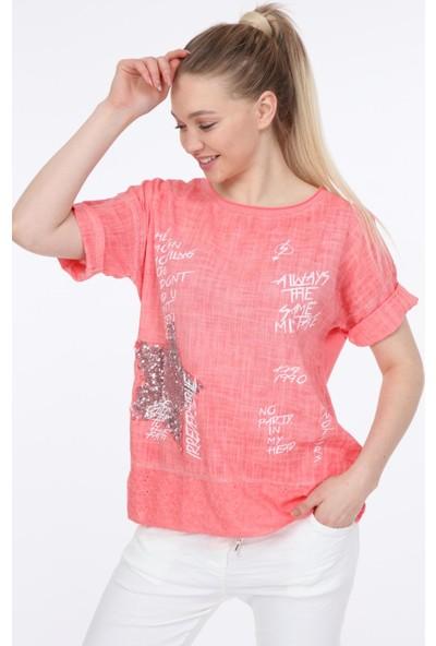 Pua Fashion Mercan Payet Yıldızlı Bluz STD