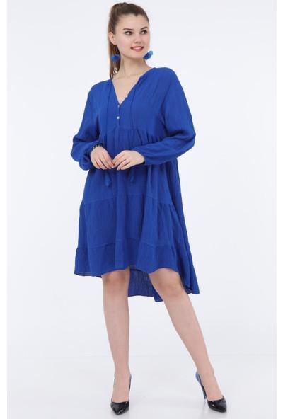 Pua Fashion Saks Krinkıl Düğmeli Elbise STD
