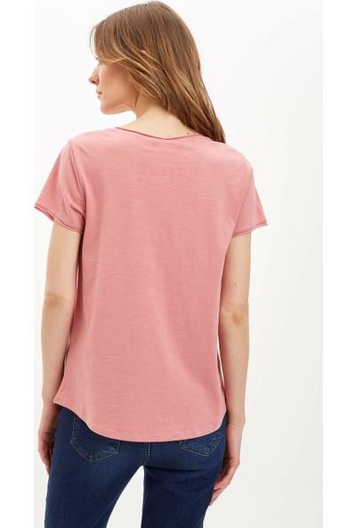 DeFacto Kadın V Yakalı Kısa Kollu T-Shirt