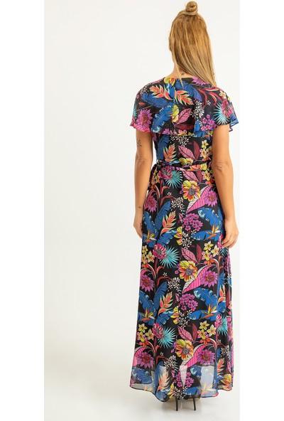 Foremia Kadın Büyük Çiçek Desen Allerli Şifon Elbise