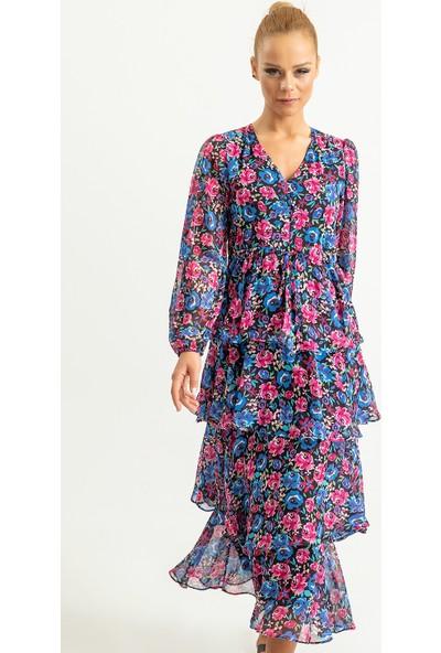 Foremia Kadın Büyük Çiçek Desen Katkat Elbise
