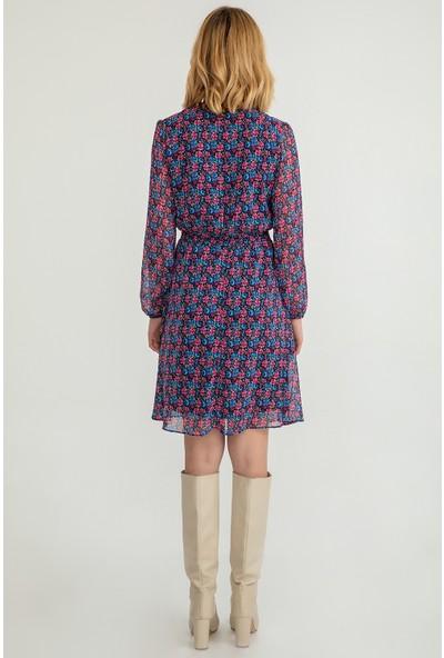 Foremia Kadın Çıtır Çiçek Desen Dantelli Elbise