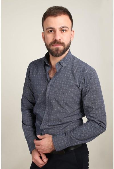 Z Giyim Erkek Gömlek Baskılı Slim Fit 500276ZGM20