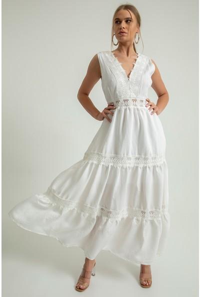 Foremia Kadın Dantel Detaylı Fırfırlı Elbise 4133