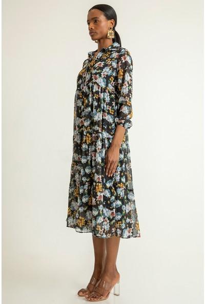 Foremia Kadın Fırfrılı Çiçek Desen Şifon Elbise