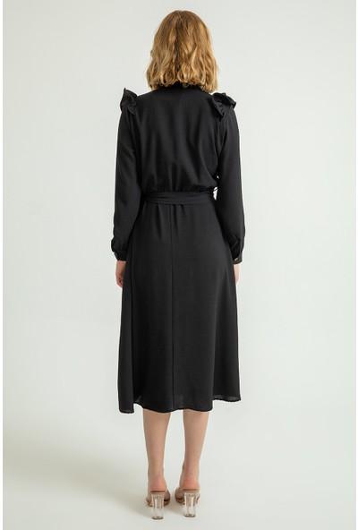 Foremia Kadın Hakim Yaka Volanlı Midi Elbise