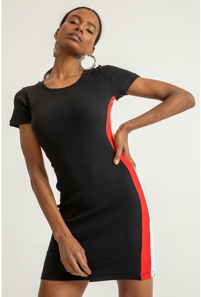 Foremia Kadın Kısa Kollu Yanı Şeritli Triko Elbise