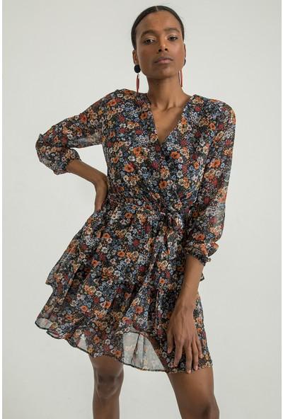Foremia Kadın Kruvaze Yaka Çiçek Desen Katkat Şifon Elbise