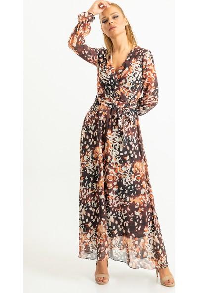 Foremia Kadın Leopar Desen Anvelop Şifon Elbise