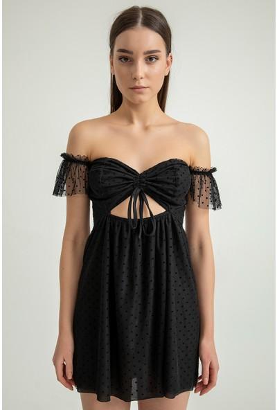 Foremia Kadın Önü Büzgü Detay Tül Elbise 4139