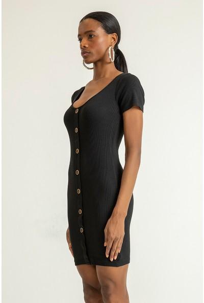 Foremia Kadın U Yaka Düğme Detay Triko Elbise
