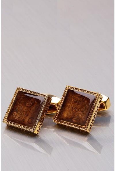 Kravatkolik Altın Sarısı - Kahve Kare Kol Düğmesi KD1089