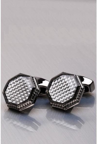 Kravatkolik Füme Sekizgen Kol Düğmesi KD1073
