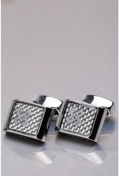 Kravatkolik Gümüş Renk Dikdörtgen Kol Düğmesi KD1041