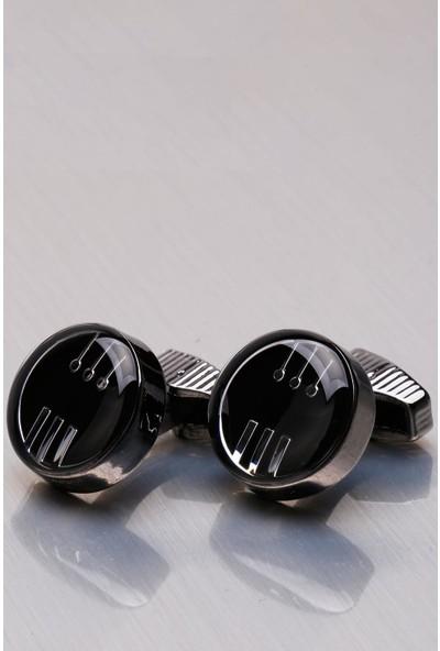 Kravatkolik Siyah Yuvarlak Kol Düğmesi KD1078