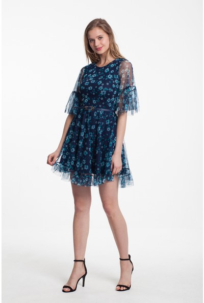 Reaction Exclusive Mint Çiçek Desenli Kemerli Kadın Lacivert Renk Tüllü Elbise 4277