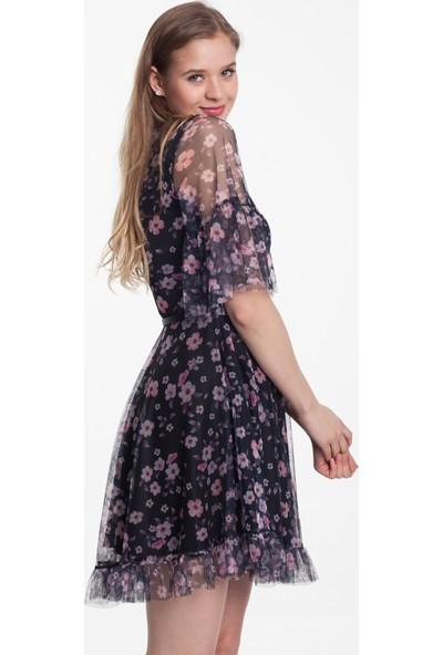 Reaction Exclusive Pudra Çiçek Desenli Kemerli Kadın Siyah Renk Tüllü Elbise 4277