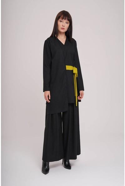 Mizalle Kontrast Bağlamalı Kimono (Siyah)