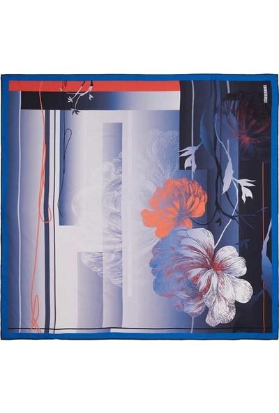 Mizalle Çiçek Desenli Eşarp (Mavi)