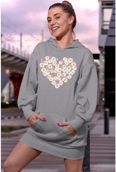 Angemiel Wear Flowers Gri Elbise Sweatshirt Tunik