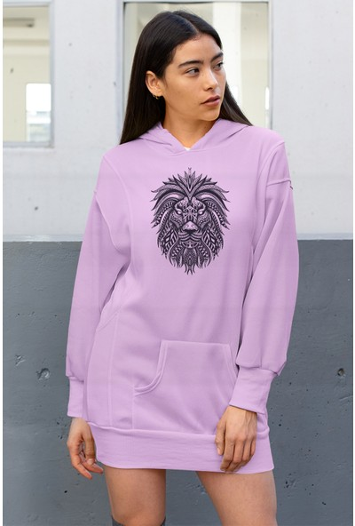 Angemiel Wear Lion Pembe Elbise Sweatshirt Tunik