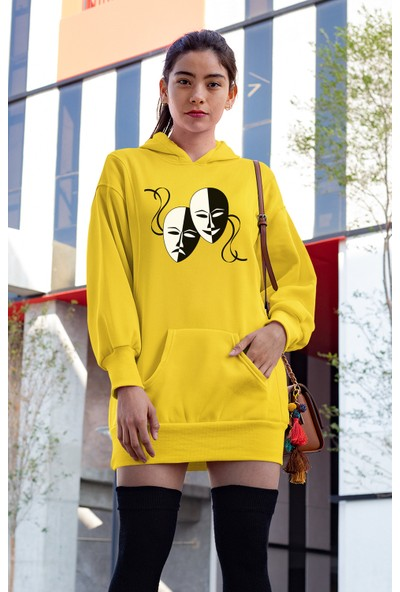 Angemiel Wear Face Sarı Elbise Sweatshirt Tunik