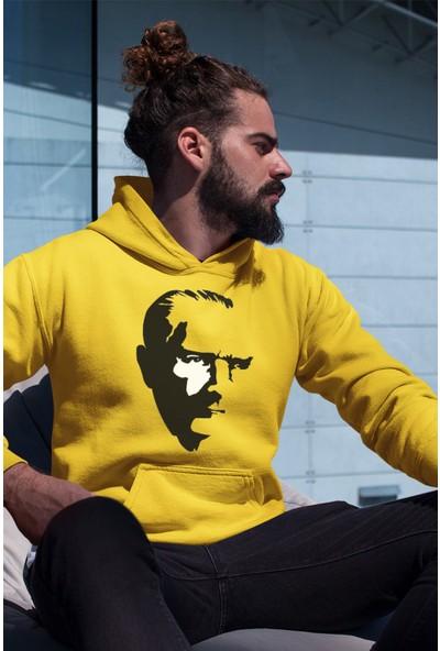 Angemiel Wear Atatürk Sarı Erkek Kapüşonlu Sweatshirt
